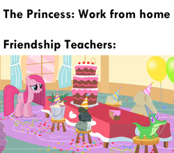 Size: 1010x887 | Tagged: safe, edit, edited screencap, screencap, gummy, madame leflour, mr. turnip, pinkie pie, rocky, sir lintsalot, alligator, earth pony, pony, party of one, balloon, bucket, cake, coronavirus, covid-19, dust bunny, female, food, hat, implied coronavirus, mare, meme, party hat, pinkamena diane pie, ponified meme, quarantine, rock, self-isolation, social distancing, stool, table, turnip, work from home