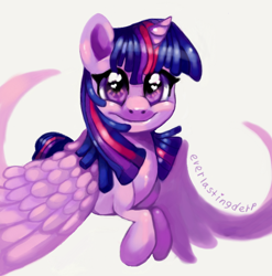 Size: 720x729 | Tagged: safe, artist:everlastingderp, twilight sparkle, alicorn, pony, cute, female, heart eyes, looking at you, mare, prone, simple background, smiling, solo, spread wings, twiabetes, twilight sparkle (alicorn), white background, wingding eyes, wings