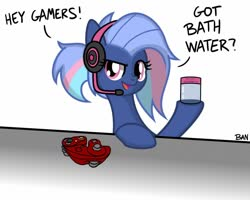 Size: 1280x1022 | Tagged: safe, artist:banquo0, oc, oc:bit rate, earth pony, bath water, controller, earth pony oc, gamecube controller, gamer girl, gamer girl bath water, headphones, meme, solo, text