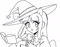 Size: 1418x1108 | Tagged: safe, artist:vilkadvanoli, twilight sparkle, alicorn, equestria girls, book, bowtie, hat, lineart, monochrome, ponied up, simple background, solo, twilight sparkle (alicorn), white background, witch, witch costume, witch hat