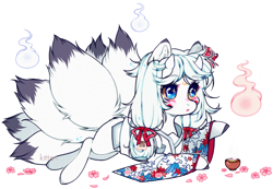 Size: 1504x1043 | Tagged: safe, artist:kitten-in-the-jar, oc, clothes, female, food, horns, kimono (clothing), kitsune pony, mare, prone, simple background, solo, tea, transparent background, will o' the wisp