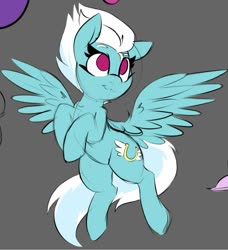 Size: 869x954 | Tagged: safe, artist:lockheart, fleetfoot, pegasus, pony, female, flying, gray background, looking up, mare, request, simple background, smiling, solo, spread wings, wings