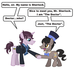 Size: 1064x1008 | Tagged: safe, artist:vgc2001, bee, earth pony, insect, unicorn, bowtie, clothes, coat, crossover, doctor who, eleventh doctor, hat, hourglass, male, raggedy doctor, reference, scarf, sherlock, sherlock holmes, stallion, top hat, wholock