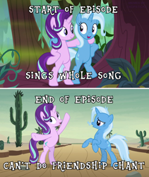 Size: 1146x1358 | Tagged: safe, edit, edited screencap, screencap, starlight glimmer, trixie, pony, unicorn, road to friendship, arm around neck, bipedal, cactus, duo, duo female, female, friendship chant, looking at each other, mare, meme, standing, swamp, text, we're friendship bound
