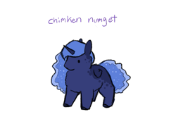 Size: 555x398 | Tagged: safe, artist:jroxs12, artist:jroxs12pone, artist:jroxs12pone-pegamom, princess luna, alicorn, pony, chibi, chicken meat, chicken nugget, chimken numget, coat markings, colored hooves, cute, dappled, dot eyes, female, food, lunabetes, mare, missing cutie mark, simple background, solo, white background