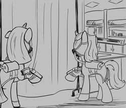 Size: 700x600   Tagged: safe, artist:sirvalter, oc, oc only, oc:dressage cure, oc:weatherglass, pony, unicorn, fanfic:steyblridge chronicle, airgun, black and white, broken ear, clothes, doctor, duo, fanfic, fanfic art, female, grayscale, hazmat suit, hooves, horn, illustration, laboratory, mare, monochrome, research institute, scientist, weapon