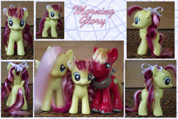 Size: 900x600 | Tagged: safe, artist:phasingirl, big macintosh, fluttershy, oc, oc:morning glory, earth pony, pegasus, pony, bow, custom, family, female, filly, fluttermac, freckles, hair bow, irl, male, offspring, parent:big macintosh, parent:fluttershy, parents:fluttermac, photo, shipping, straight, toy