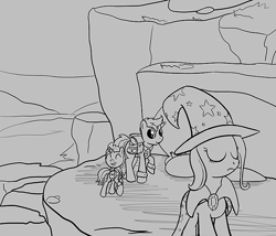 Size: 700x600   Tagged: safe, artist:sirvalter, trixie, oc, oc:bling flair, oc:scoperage, pony, unicorn, fanfic:steyblridge chronicle, black and white, clothes, colt, eyes closed, fanfic, fanfic art, female, foal, grayscale, hooves, horn, male, mare, monochrome, outdoors, scientist, stallion