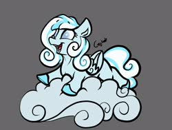 Size: 2776x2094 | Tagged: safe, artist:greyscaleart, oc, oc only, oc:snowdrop, pegasus, pony, blind, cloud, colored hooves, female, filly, gray background, lying down, lying on a cloud, on a cloud, prone, simple background, solo