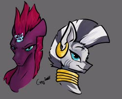 Size: 2558x2075 | Tagged: safe, artist:greyscaleart, tempest shadow, zecora, pony, unicorn, zebra, broken horn, bust, duo, ear piercing, earring, female, gray background, horn, jewelry, magic, mare, neck rings, piercing, portrait, simple background, sparks