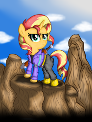 Size: 3024x4032 | Tagged: safe, artist:background basset, derpibooru exclusive, sunset shimmer, pony, unicorn, capsule corp, clothes, cosplay, costume, dragon ball z, future trunks, mirai trunks, parody, solo, sword, weapon