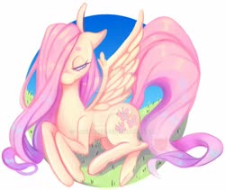 Size: 1280x1079 | Tagged: safe, artist:drownzee, fluttershy, pegasus, pony, abstract background, cute, deviantart watermark, female, hair over one eye, lidded eyes, mare, obtrusive watermark, prone, shyabetes, solo, spread wings, watermark, wings