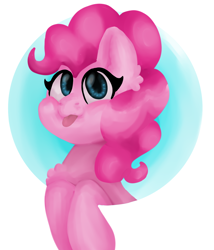 Size: 1222x1427 | Tagged: safe, artist:florentineart, pinkie pie, earth pony, pony, :p, abstract background, bust, chest fluff, circle background, cute, diapinkes, ear fluff, female, mare, solo, tongue out