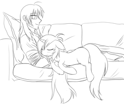 Size: 1181x992 | Tagged: safe, artist:homumu, oc, oc only, human, pony, unicorn, couch, duo, eyes closed, horn, lineart, messy mane, monochrome, sitting, sleeping, snuggling, unicorn oc