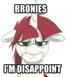 Size: 497x569 | Tagged: artist needed, source needed, safe, oc, oc only, oc:fausticorn, alicorn, pony, caption, disappoint, image macro, meme, scrunchy face, solo, son i am disappoint, text