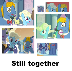 Size: 750x733 | Tagged: safe, edit, edited screencap, screencap, eclair créme, jangles, perfect pace, pony, a canterlot wedding, the best night ever, background pony, hub logo, ponies standing next to each other, the hub