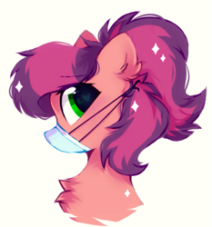 Size: 761x815 | Tagged: safe, artist:mirtash, oc, oc only, pony, bust, coronavirus, covid-19, mask, ppe, solo, surgical mask