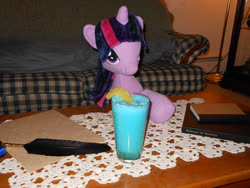 Size: 1024x768 | Tagged: safe, twilight sparkle, blue hawaiian, book, irl, photo, plushie, quill, solo, toy