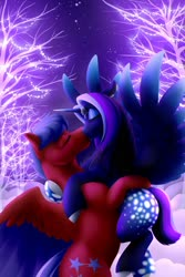 Size: 1280x1920 | Tagged: safe, artist:mythpony, oc, oc only, oc:myth, oc:solar flare, alicorn, pegasus, pony, female, kissing, male, mare, stallion, tree
