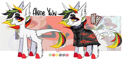 Size: 2560x1269 | Tagged: safe, artist:angryroru, oc, oc only, oc:akine yuki, hybrid, pony, unicorn, clothes, female, japanese, kimono (clothing), mare, naruto, reference, reference sheet, solo