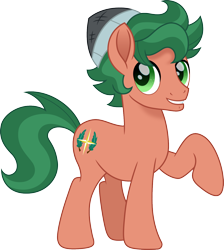 Size: 1346x1500 | Tagged: safe, artist:cloudyglow, timber spruce, earth pony, pony, equestria girls ponified, hat, male, ponified, raised hoof, simple background, smiling, solo, stallion, transparent background