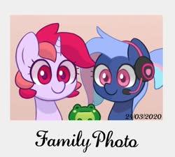 Size: 1376x1240 | Tagged: safe, artist:handgunboi, oc, oc only, oc:bit rate, oc:dawnfire, earth pony, frog, pony, unicorn, family, female, mare, photo
