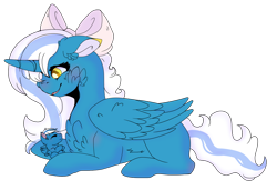 Size: 1280x875 | Tagged: safe, artist:emiedoodles, oc, oc:fleurbelle, alicorn, pony, adorable face, alicorn oc, baby, baby pony, bow, chest fluff, cute, ear fluff, female, foal, hair bow, mare, simple background, transparent background, yellow eyes