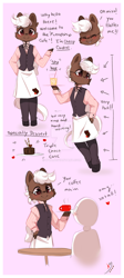 Size: 800x1780 | Tagged: safe, artist:ipun, oc, oc only, oc:cherry cordial, earth pony, semi-anthro, apron, arm hooves, chibi, clothes, deviantart watermark, friendship cafe, glasses, male, obtrusive watermark, pants, semi-anthro oc, shirt, solo, stallion, vest, watermark
