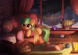 Size: 7016x4961 | Tagged: safe, artist:freeedon, oc, oc only, oc:summer ray, fox, pegasus, pony, absurd resolution, airship, animated in description, book, commission, couch, cozy, cute, eye clipping through hair, female, fire, fireplace, globe, indoors, lantern, mare, model, night, reading, scenery, smiling, snow, snow globe, tree, village, window, winter