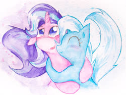 Size: 4032x3024 | Tagged: safe, artist:papersurgery, starlight glimmer, trixie, pony, unicorn, blushing, female, happy, hug, lesbian, looking up, raised tail, shipping, smiling, startrix, tail, traditional art, watercolor painting