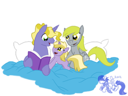 Size: 900x675 | Tagged: safe, artist:cosmic-rust, derpy hooves, dinky hooves, ponet, pegasus, pony, unicorn, bed, book, father and child, father and daughter, female, filly, male, mare, mother and child, mother and daughter, ponetderp, shipping, simple background, stallion, straight, transparent background