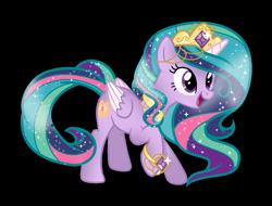 Size: 1228x932   Tagged: safe, artist:gihhbloonde, princess celestia, twilight sparkle, oc, oc only, oc:princess solar sparkle, alicorn, pony, crown, female, fusion, jewelry, mare, regalia, simple background, solo, transparent background, twilight sparkle (alicorn)
