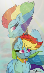 Size: 3500x5755 | Tagged: safe, artist:lunarcipher1, rainbow dash, pegasus, pony, the last problem, spoiler:s09e26, element of loyalty, female, females only, long mane, mare, older, older rainbow dash, sky, smiling, sunlight, wingding eyes, wings