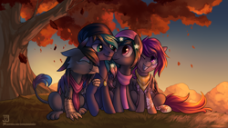 Size: 3840x2160 | Tagged: safe, artist:jedayskayvoker, oc, oc only, oc:asteroid trail, oc:caiya, oc:ender, oc:star universe, griffon, pony, autumn, bandana, beanie, clothes, eyes closed, female, griffon oc, hat, high res, hug, jewelry, looking at each other, male, mare, necklace, scarf, scenery, sitting, smiling, stallion, sunset, tree, winghug
