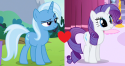 Size: 1330x702 | Tagged: safe, edit, edited screencap, screencap, rarity, trixie, a dog and pony show, no second prances, cropped, female, lesbian, rarixie, shipping, shipping domino
