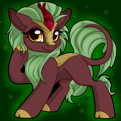Size: 2857x2858 | Tagged: safe, artist:gleamydreams, cinder glow, summer flare, kirin, pony, cloven hooves, cute, female, looking at you, raised hoof, smiling, solo