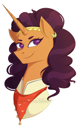 Size: 1629x2570 | Tagged: safe, artist:leiloaf, saffron masala, pony, unicorn, curly hair, curly mane, ear piercing, earring, female, head shot, horn, jewelry, long horn, mare, neckerchief, piercing, poofy mane, signature, simple background, solo, transparent background, vector