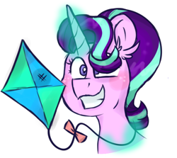 Size: 592x529 | Tagged: safe, artist:honneymoonmlp, starlight glimmer, pony, unicorn, bust, glowing horn, horn, kite, simple background, smiling, solo, that pony sure does love kites, white background