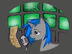 Size: 898x673 | Tagged: safe, artist:wavemasterryx, dj pon-3, vinyl scratch, pony, unicorn, fallout equestria, crying, letter, microphone, monitor, tears of joy