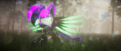 Size: 3840x1620 | Tagged: safe, artist:phoenixtm, oc, oc:phoenix stardash, alicorn, cyborg, dracony, dragon, hybrid, pony, 3d, dracony alicorn, forest, heroic posing, lens flare, spread wings, unity (game engine), wings