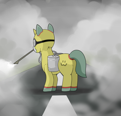 Size: 5000x4800 | Tagged: safe, artist:waffletheheadmare, oc, oc only, oc:wafflehead, pony, unicorn, asphalt, barrel, caftan, clothes, coronavirus, covid-19, cutie mark, decontamination, disinfection, gas, goggles, haze, horn, mask, ppe, respirator, road, safety goggles, smoke, suit, wires, wuhan
