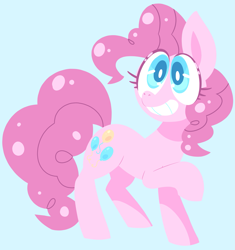 Size: 2499x2663 | Tagged: safe, artist:nancybigots, pinkie pie, earth pony, pony, blue background, colored pupils, cute, diapinkes, female, high res, mare, simple background, smiling, solo