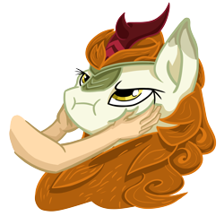 Size: 5136x4961 | Tagged: safe, artist:khaki-cap, autumn blaze, human, kirin, :i, angry, cute, digital art, funny, hand, hands on cheeks, hands on face, hooves on face, madorable, pomf, simple background, squeezing, transparent background