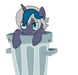 Size: 1280x1228 | Tagged: safe, artist:aepp, oc, oc only, oc:elizabat stormfeather, alicorn, bat pony, bat pony alicorn, pony, alicorn oc, bat pony oc, bat wings, female, horn, mare, simple background, solo, trash can, unamused, white background, wings, ych result