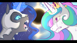 Size: 1152x648 | Tagged: safe, artist:cold-blooded-twilight, nightmare moon, princess celestia, alicorn, angry, armor, crying, drool, drool string, eclipse, fangs, female, frown, glowing eyes, glowing horn, horn, looking at each other, magic, siblings, sisters, teary eyes