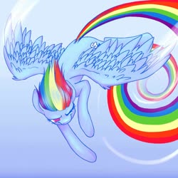 Size: 2000x2000 | Tagged: safe, artist:flutterbree, derpibooru exclusive, rainbow dash, pegasus, pony, female, flying, gift art, mare, one eye closed, rainbow trail, sky, solo