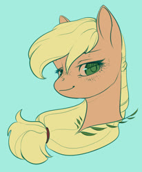 Size: 1280x1554 | Tagged: safe, artist:aphphphphp, applejack, pony, blue background, bust, colored pupils, cute, female, hatless, jackabetes, lidded eyes, looking at you, mare, missing accessory, portrait, simple background, solo