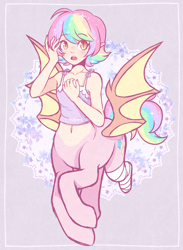 Size: 1440x1966 | Tagged: safe, artist:hawthornss, oc, oc only, oc:paper stars, bat pony, centaur, amputee, bandage, bat pony oc, bat wings, belly button, blushing, chest fluff, clothes, collarbone, cute, cute little fangs, elf ears, fangs, hydrangea, looking at you, midriff, missing limb, multicolored hair, open mouth, pointed ears, rainbow hair, simple background, slit eyes, stump, sweat, sweatdrop, tanktop, wings
