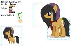 Size: 995x636 | Tagged: safe, artist:14th-crown, oc, oc only, oc:mocha ice, earth pony, pony, bendy straw, coffee, cup, drink, drinking straw, duo, earth pony oc, female, hair over one eye, hat, mare, necktie, pointy ponies, reference sheet, simple background, transparent background