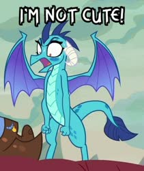 Size: 398x472 | Tagged: safe, edit, edited screencap, screencap, princess ember, dragon, sweet and smoky, spoiler:s09e09, angry, blatant lies, blushing, cropped, i'm not cute, shrunken pupils, solo focus, sweat, sweatdrop, tsundember, tsundere, yelling